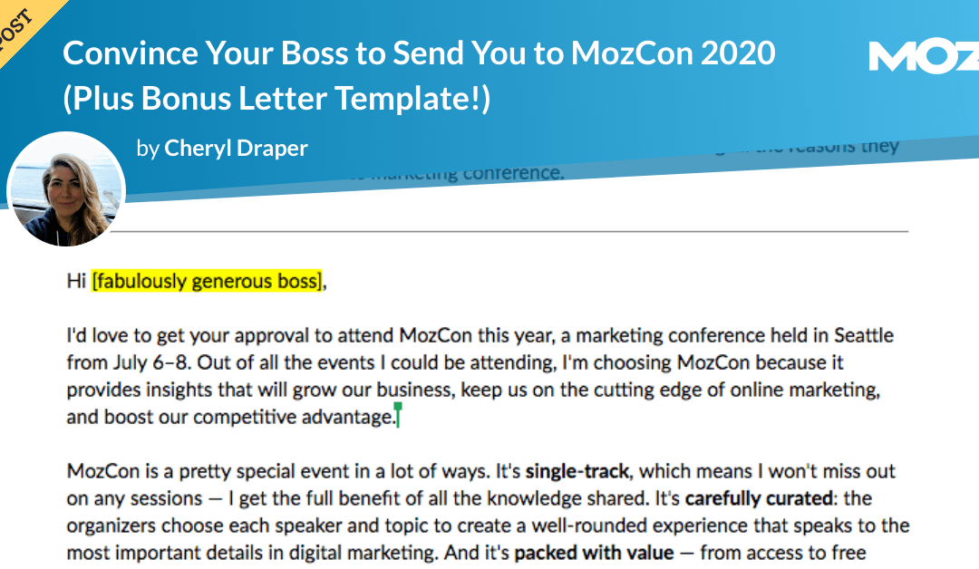 Convince Your Boss to Send You to MozCon 2020 (Plus Bonus Letter Template!)